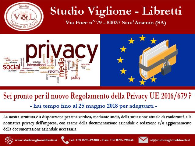 Regolamento Sulla Privacy UE 2016/679, Obbligo Dal 25 Maggio 2018