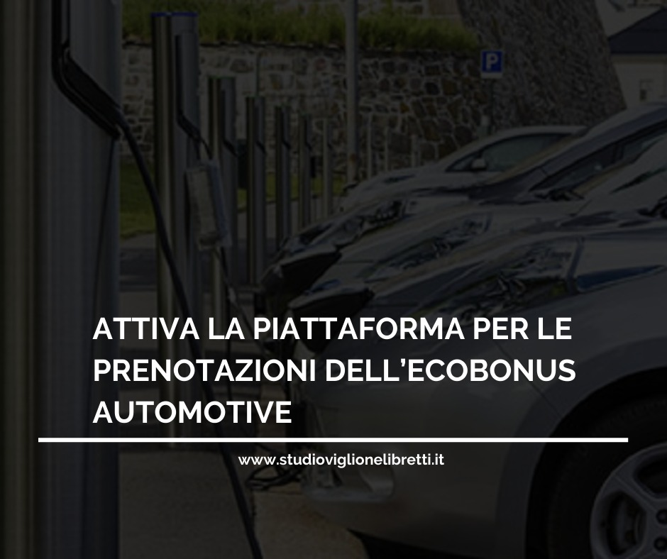 ATTIVA LA PIATTAFORMA PER LE PRENOTAZIONI DELL'ECOBONUS AUTOMOTIVE